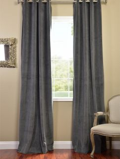 Natural Grey Grommet Velvet Blackout Curtains Drapes