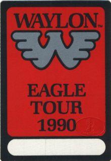 unused backstage pass for the waylon jennings 1990 eagle tour measures