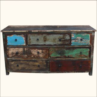 Distressed Reclaimed Wood 7 Drawer Vanity Storage Drawer Dresser Chest