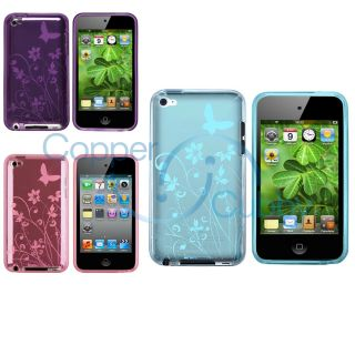 3X Butterfly Rubber Soft Silicone Case Gel for Apple iPod Touch 4 4G
