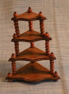 "Dollhouse Mini Wood ""What not"" Corner Shelf"