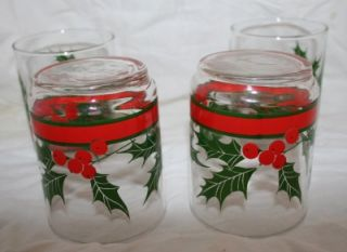Holly Glasses Glassware Beverage Christmas Tumblers 4
