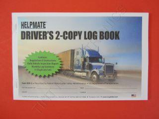 JJ Keller 009 2 Driver`s 2 Copy Log Book with Dvir 31 Duplicate Sets