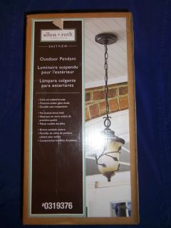 ALLEN ROTH EASTVIEW OUTDOOR PENDANT LIGHT BRONZE WITH AMBER GLASS