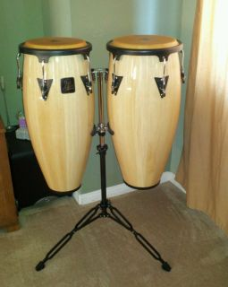 Brand new L P congas with stand 10in 11in drums in unopen box