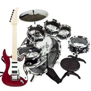 Electric Guitar Drum Set Boy Toy Musical Instruments Stool Educational