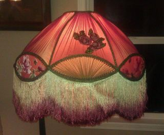 Superb Antique Victorian Large Silk Embroidered Lamp Shade, Prof