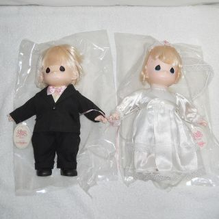 Lovely Pair of Vintage Bride Groom Precious Moments Dolls