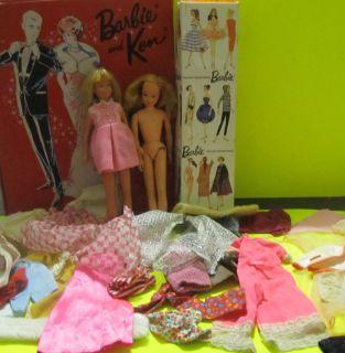 Vintage Lot 2 Skipper Dolls 1962 Case Barbie Ken Clothing See Photos