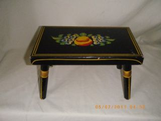 1965 Ebersol Hand Made Painted Wood Footstool PA Dutch