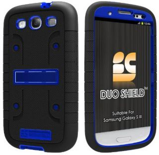 Blue Black Duo Shield Skin Case Screen Saver Stand for Samsung Galaxy