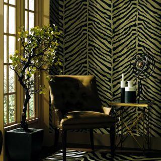Echo Design Herringbone Black Zebra with Tonal Tan Wallpaper 566 44925
