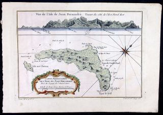 1750 Bellin Antique Map Cumberland Bay Juan Fernandez I