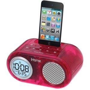 Pink IH33 Crystal Tunes Dual Alarm Clock Translucent Speaker System