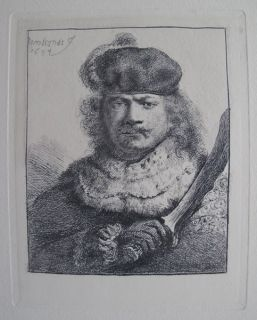 Rembrandt Amand Durand Signed Etching Self Portrait with Raised Sabre