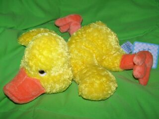 Stuffed Plush Yellow Orange Duck Happy Go Lucky Ducky Chick