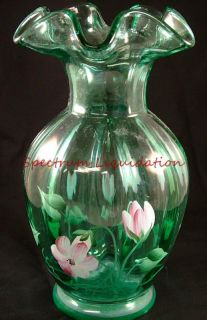 Glass Hand Painted Pink & White Flowers 8 1/2 Vase by Janet Dowler