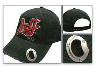Duff Beer Bill Cap Hat with Bottle Opener Distressed Embroidered