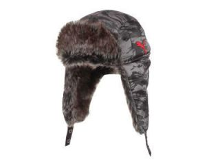 PUMA DOWNEY TRAPPER FUR WINTER BEANIE GREY CAMO BLACK RED HAT CAP NEW
