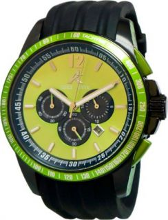 THIS IS A BRAND NEW AUTHENTIC ADEE KAYE MENS GREEN DIAL CHRONOGRAPH