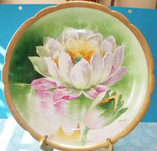 Antique Hand Painted 12 1 4 Water Lilies Plate Charger Signed Duval