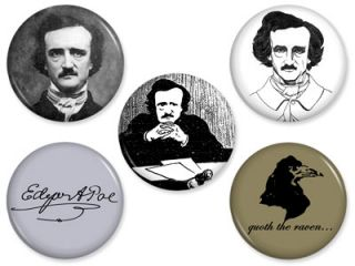Edgar Allan Poe Pins Poet Writer Raven Author Pinback Button Badge