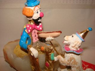 1987 Ron Lee Sculpture Circus Clown w Hot Dog Dog Signed Numbered Hang