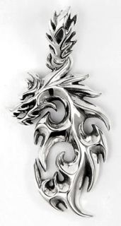 Flame Dragon Tattoo 925 Sterling Silver Mens Pendant Charm for Chain