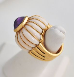 Estate Tony Duquette Amethyst White Coral 18K Gold Ring