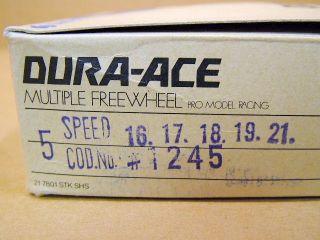 New Old Stock Shimano Dura Ace 5 Speed Freewheel 16x21 Gold Finish
