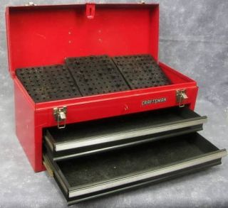 Classic Craftsman Portable 2 Drawer Tool Box ~ Red Painted Metal Steel