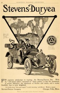 1911 Ad Stevens Duryea Model AA Six Torpedo Automobile Car Drive