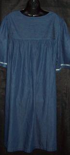 Go Softly 100 Cotton Denim Patio House Dress Muu Duster Animal Batik