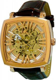 THIS IS A BRAND NEW AUTHENTIC ADEE KAYE MENS ROSETONE SKELETON DIAL
