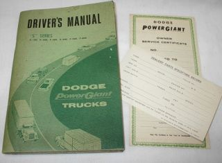 62 68 Dodge s Series Power Giant Truck Drivers Manual