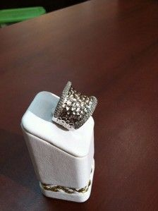 Effy Collection 925 Sterling Silver Pave Diamonds Hammered Ring 1 2 Ct