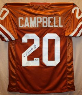 Earl Campbell Autographed Univ of Texas Longhorns Orange Jersey