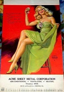 Marilyn Monroe Earl Moran Ad Calendar Pinup Litho 1948 VTG Rare