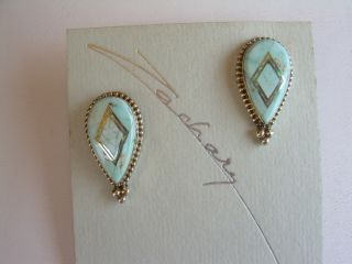 NEW NATIVE AMERICAN DRY CREEK TURQUOISE AND OPAL EARRINGS BY GERTRUDE