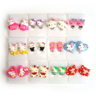 Lot 3 Pairs Assorted Hello Kitty Clip on Earrings Girls Kids Children