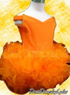075Z Orange Shell National Pageant Party /Wedding Flower Girls Dress