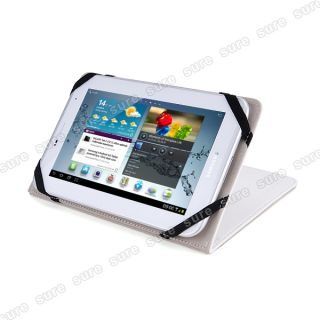 Tablet PC Ebook Reader Leather Case Cover Pouch White Universal