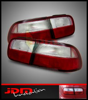 92 95 Civic EG Coupe Sedan JDM Red Clear Tail Lights Brake Lamps