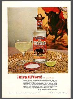 1966 El Toro Tequila Bull Print Ad