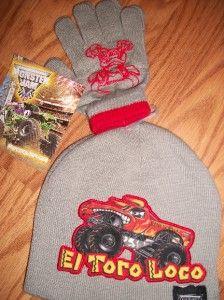Monster Jam El Toro Loco Truck Hat Cap Beanie Gloves Mitten Set Boys