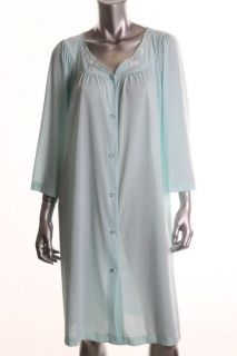 Miss Elaine New Blue Embroidered Long Sleeves Button Front Short Robe