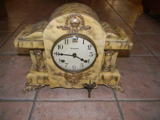 ANTIQUE WATERBURY DUARTE 8 DAY MANTEL SHELF CLOCK