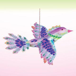 eeBoo Purple Floating Bird Durable Cardboard Decoration   approx 11
