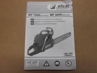 Efco MT7200 MT8200 Chainsaw Operators Manual