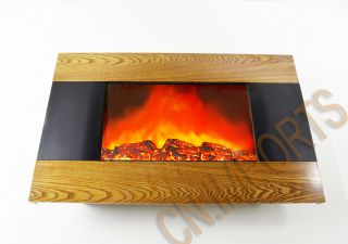 Mounted Wood Trim Panel Electric Fireplace Heater with Logs C510AL